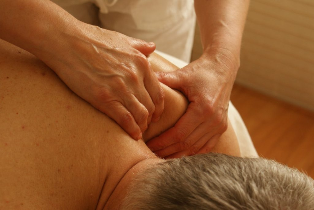 Man getting a back massage.